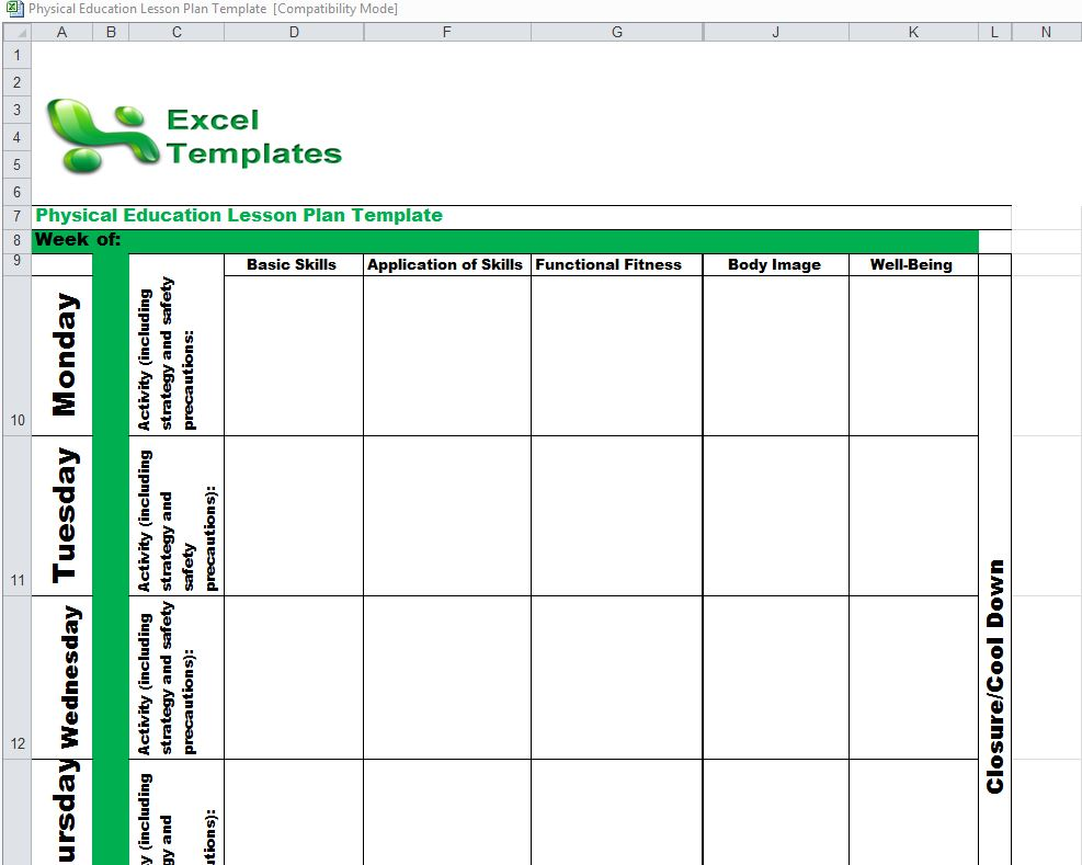 Physical Education Lesson Plan Template from ExcelTemplates.net
