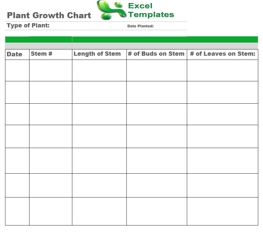 Plant Growth Chart From Exceltemplates
