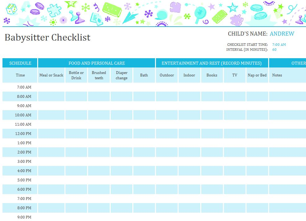 Screenshot of the Babysitter Checklist