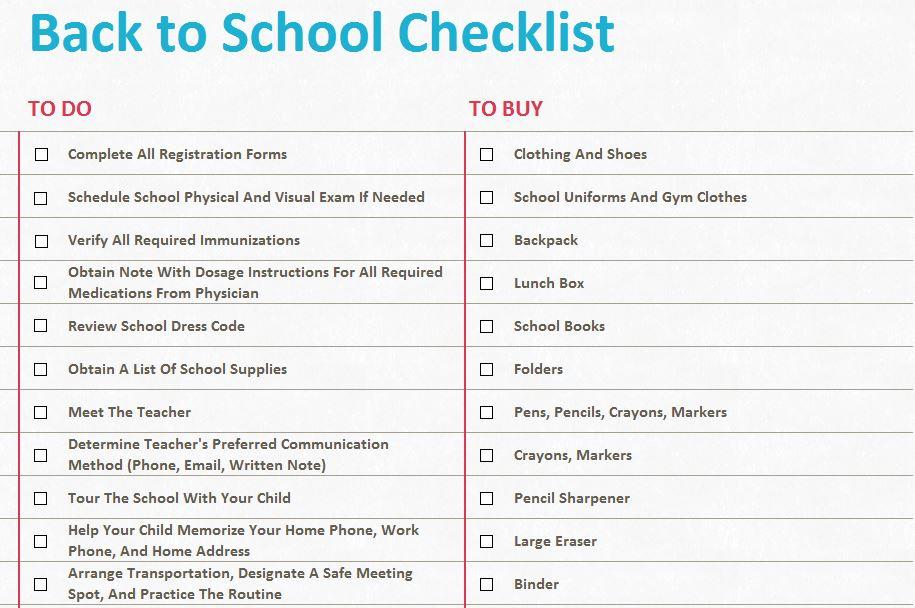 Screenshot of the Back to School Checklist