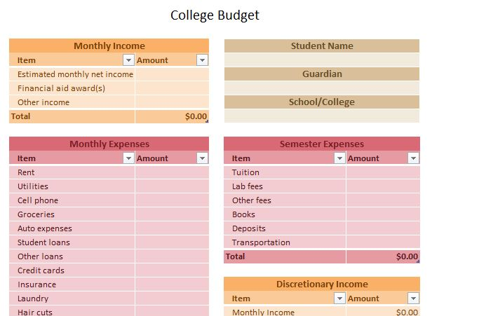screenshot of the college budget template