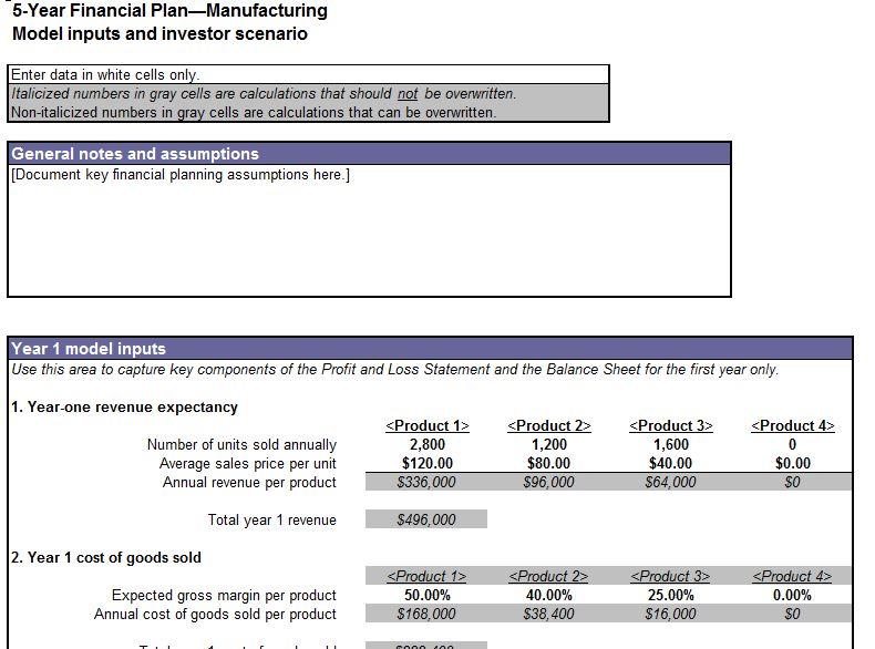 Screenshot of the Five Year Financial Plan Template