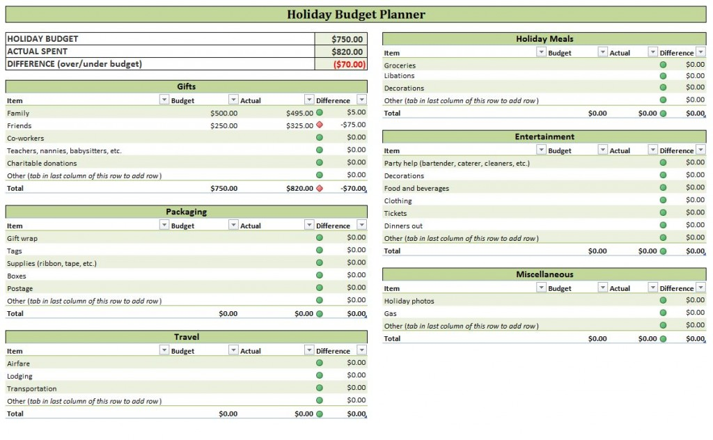 screenshot of the holiday budget planner