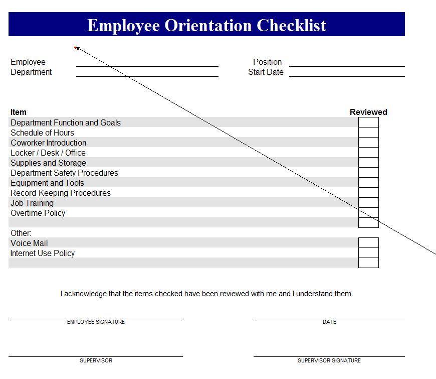 New Employee Checklist screenshot