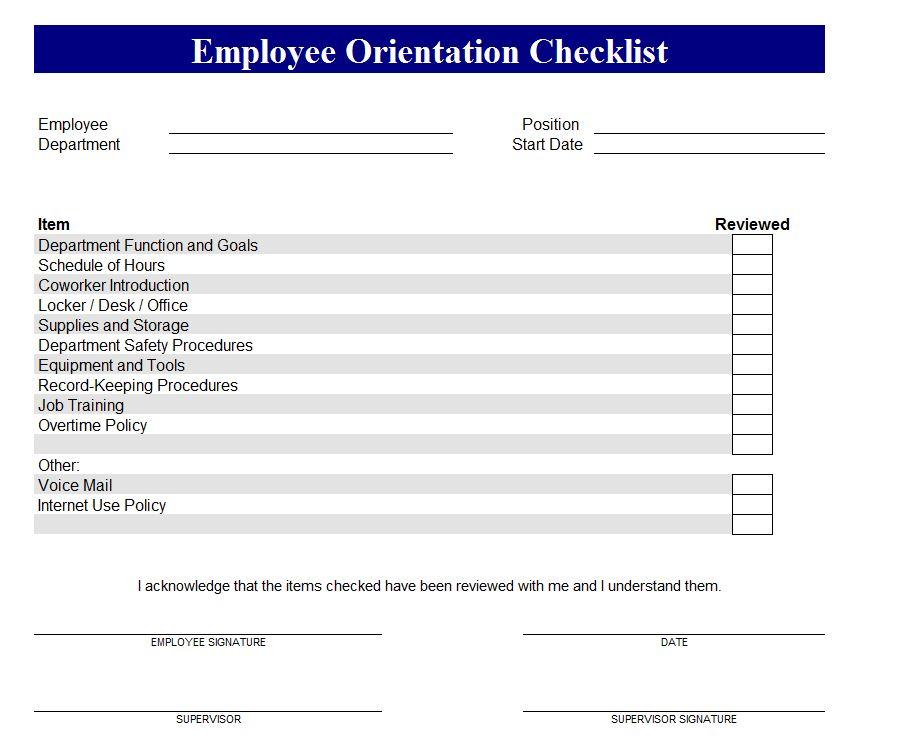 New Employee Orientation Checklist Screenshot