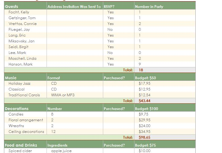 Screenshot of the Party Planning Template