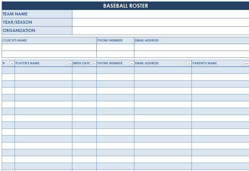 Screenshot of the Baseball Roster Template