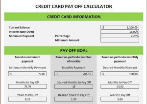 Screenshot of the Credit Card Excel Template