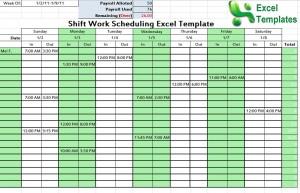Screenshot of the Shift Schedule Template