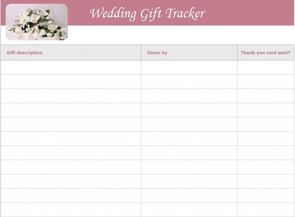 Wedding Gift List Template screenshot