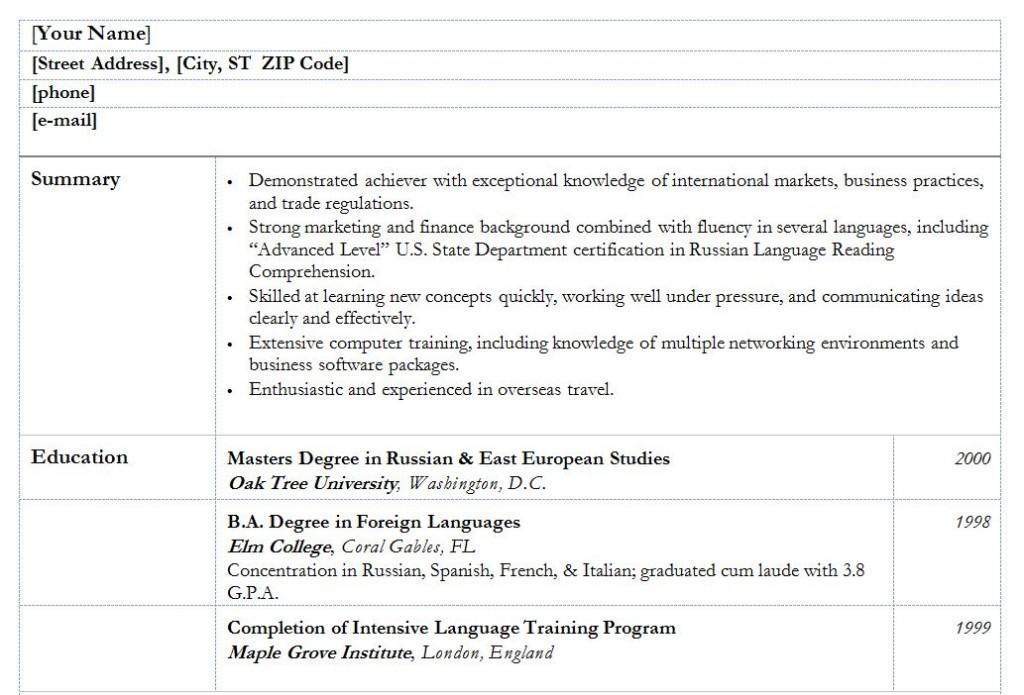 Free college graduate resume