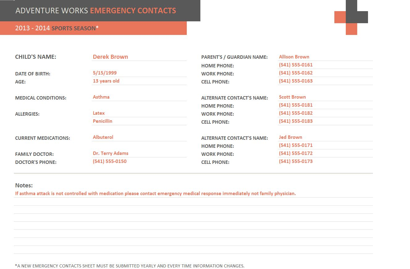 Emergency Contact Form Template Emergency Contact Template