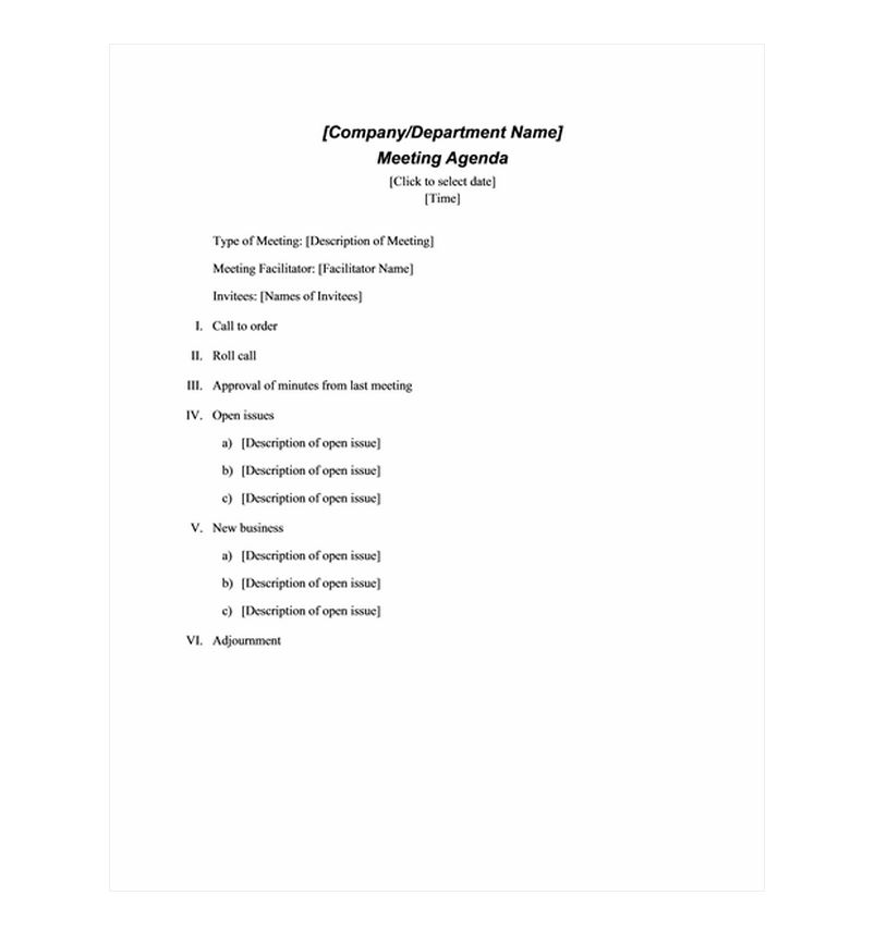 Free Formal Meeting Agenda Template