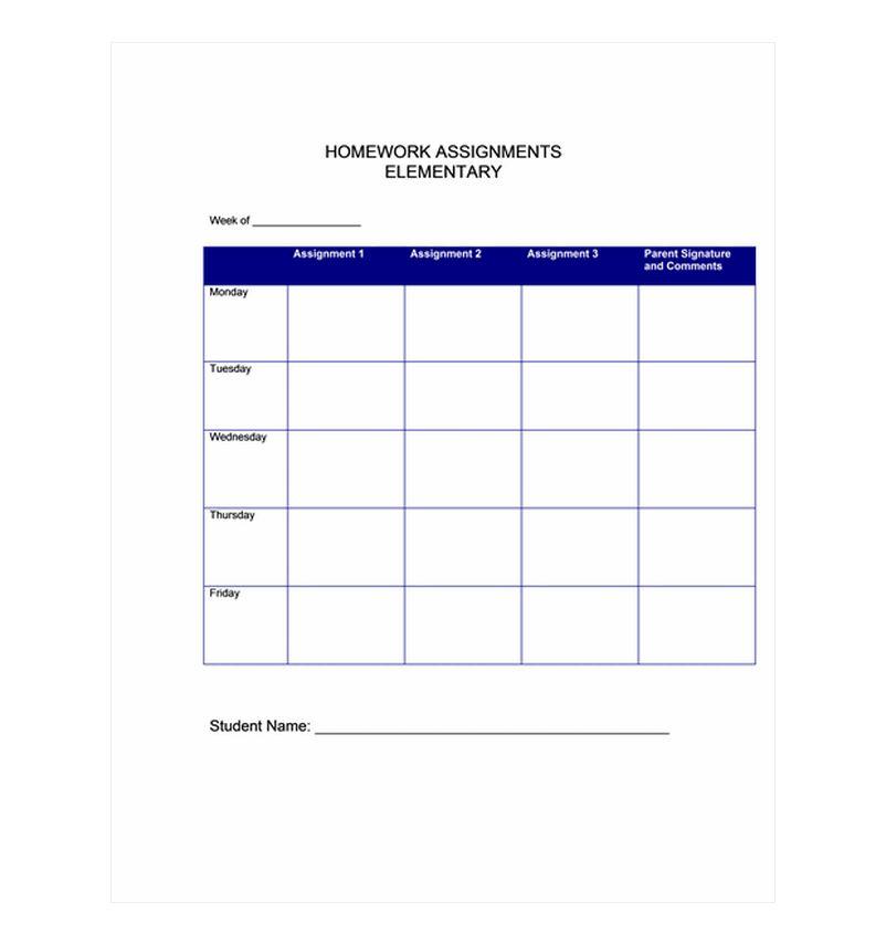 Homework Planner Template