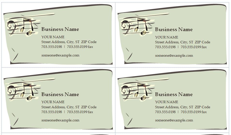 Free Music Business Cards