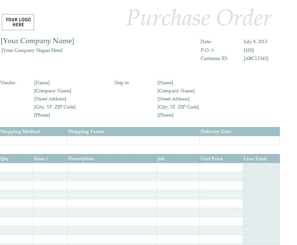 The Purchase Order Template