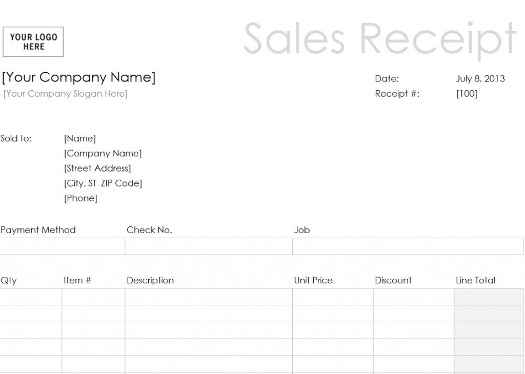 The Sales Receipt Template