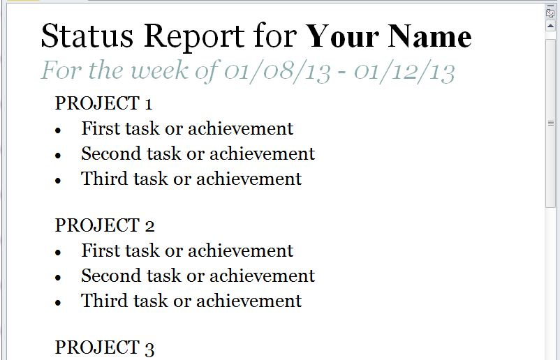 The Status Report Template
