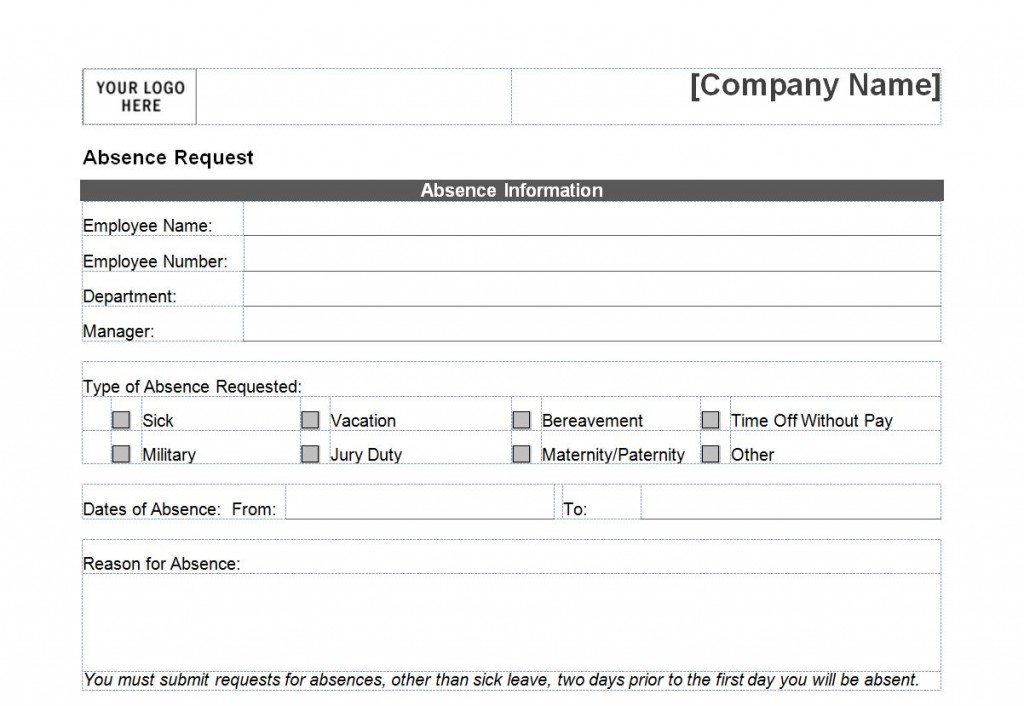 Photo of the time off request form