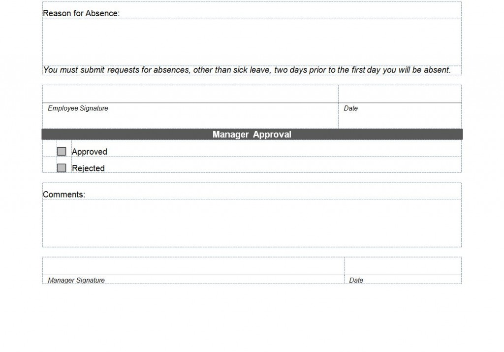 Photo of the Vacation Request Form
