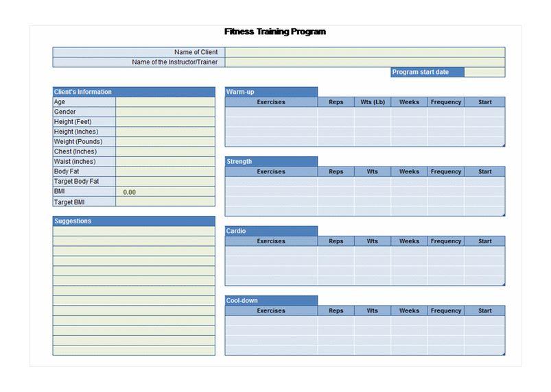 Exercise Planner Tempalte