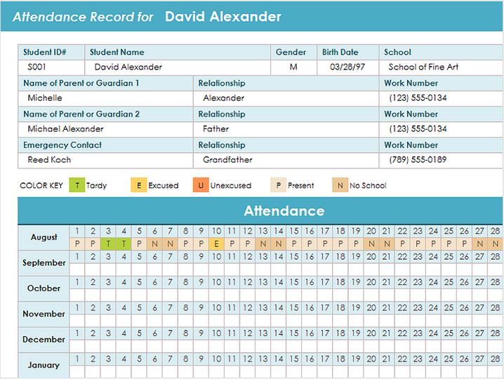 Free Student Attendance Template