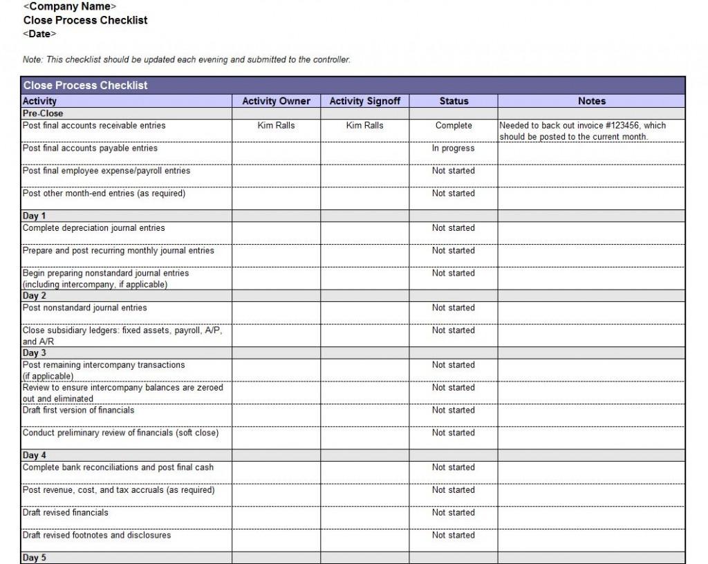 Free Accounting Book Closing Checklist