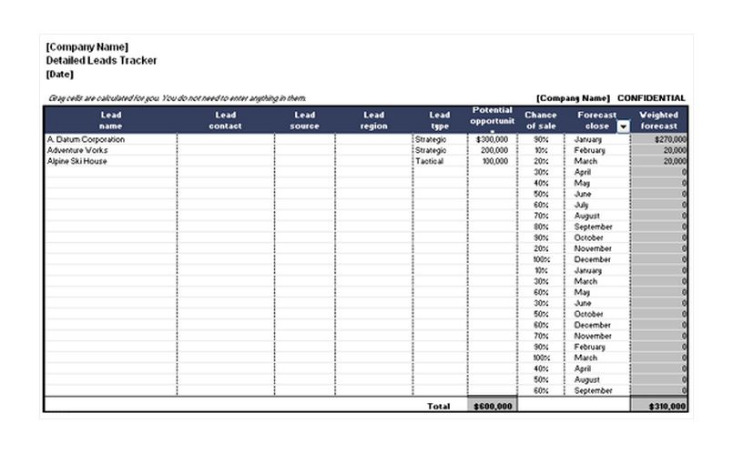 Free Detailed Leads Tracker