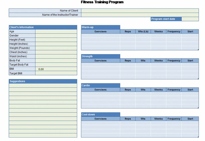 Exercise Planner Excel Template