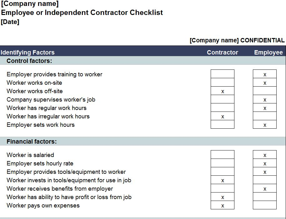 Free Independent Contractor Checklist