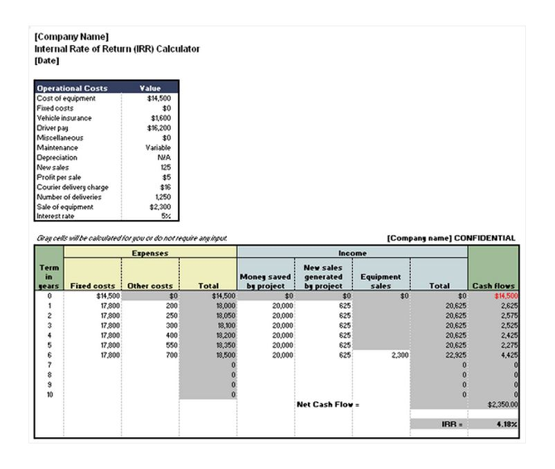 Free Internal Rate of Return Calculator