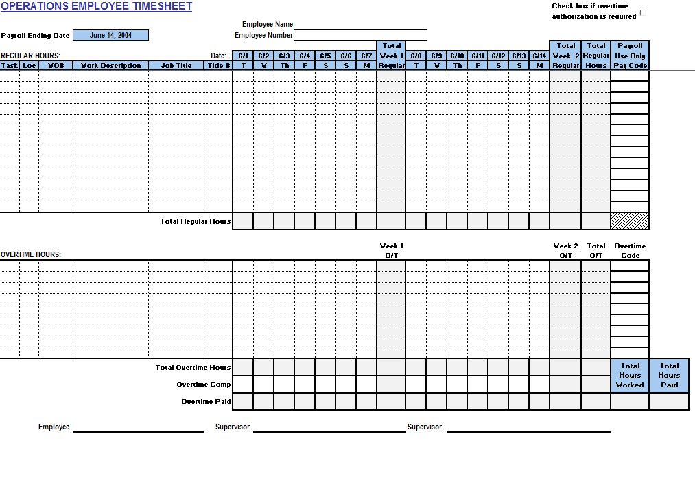 Free Operations Employee Timecard