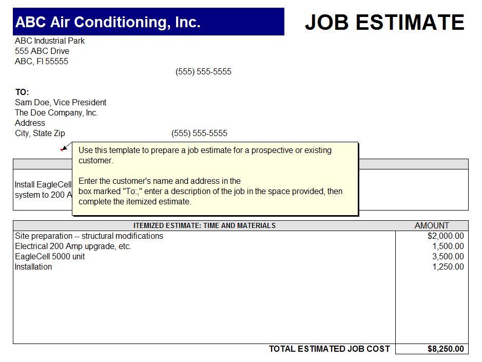 Free Printable Job Estimate Sheet