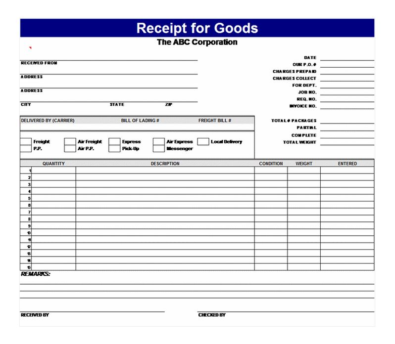 Free Receipt for Goods