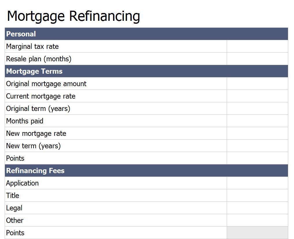 Free Refinance Mortgage Loan Calculator