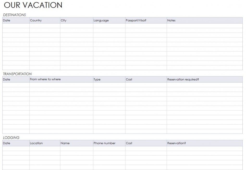 Free Vacation Itinerary Planner