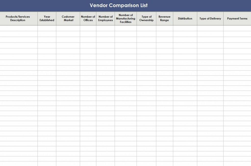 Free Vendor Comparison Template