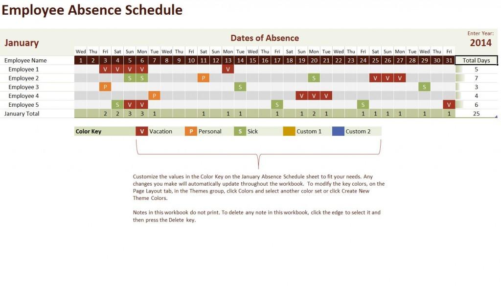 Free Employee Vacation Calendar