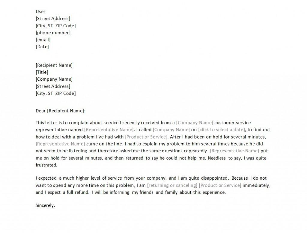 Complaint Letter Template Free