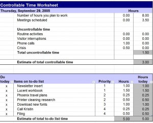 Controllable Time Worksheet Free