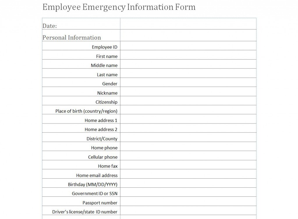 Free Employee Emergency Information Form