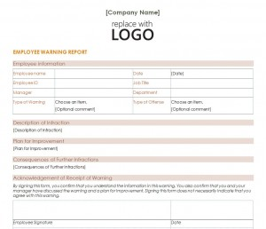 Free Employee Warning Letter Template