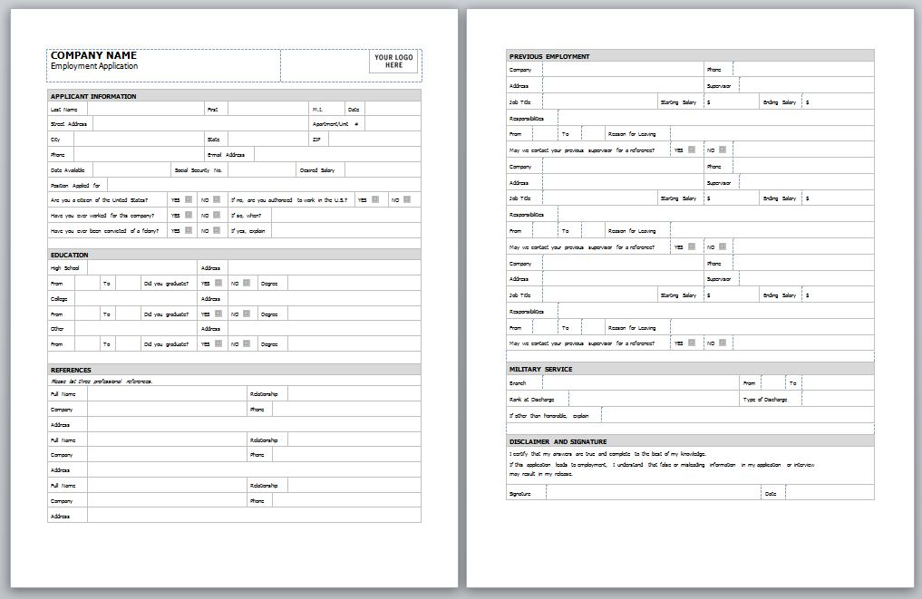 Employment Application Template Free