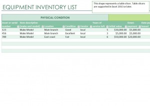 Free Equipment Inventory List