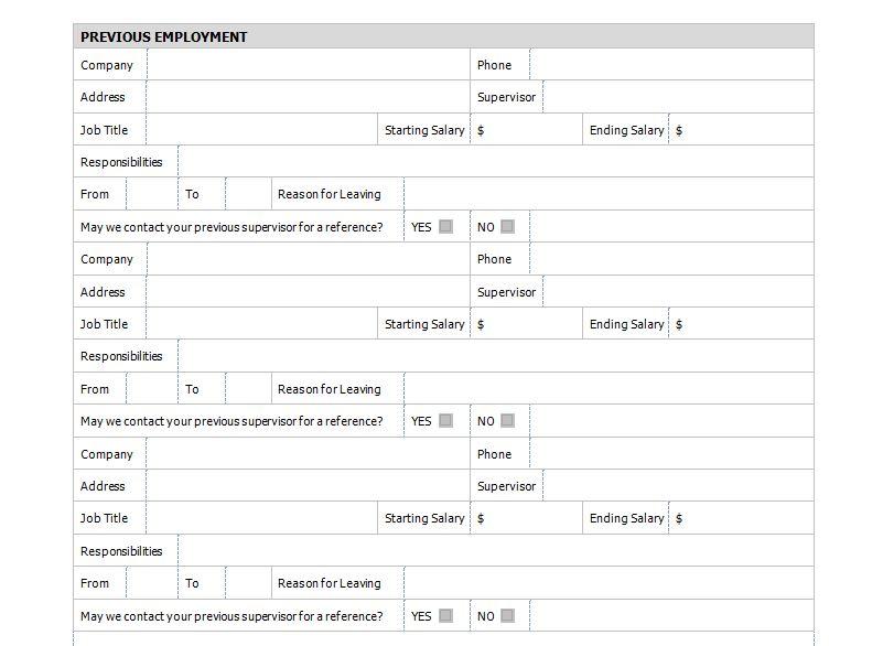 Job Application Form Template Free
