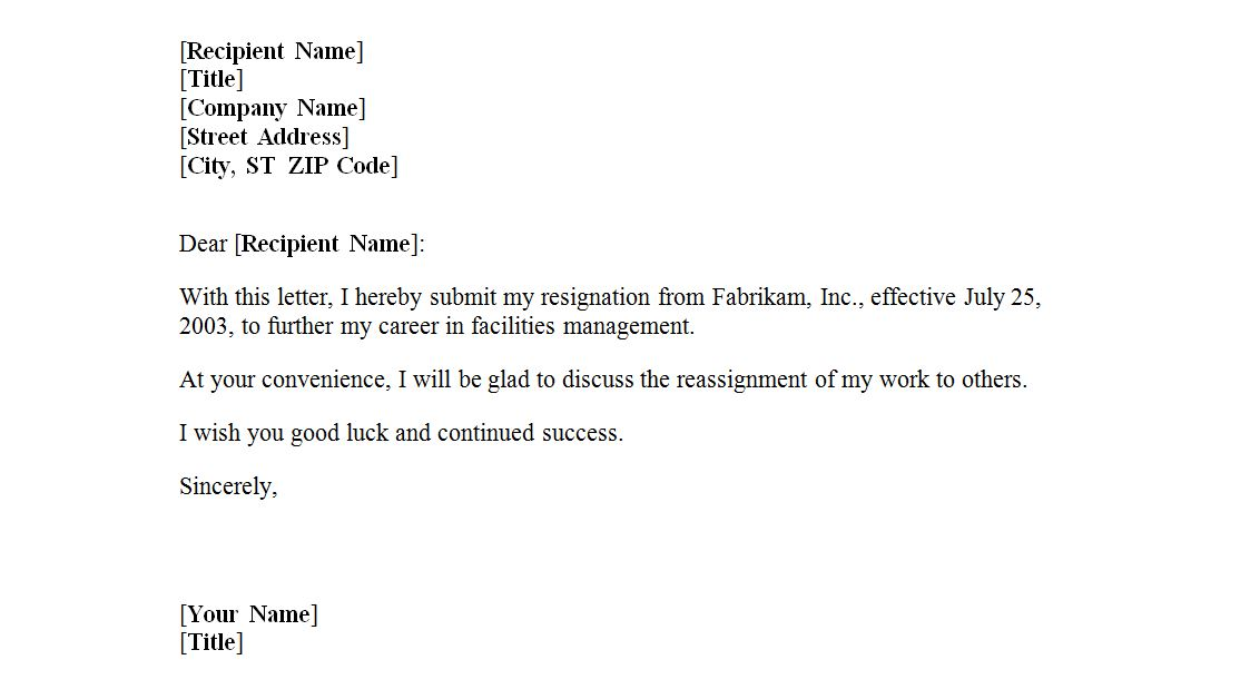 Example Of A Letter Of Resignation from exceltemplates.net