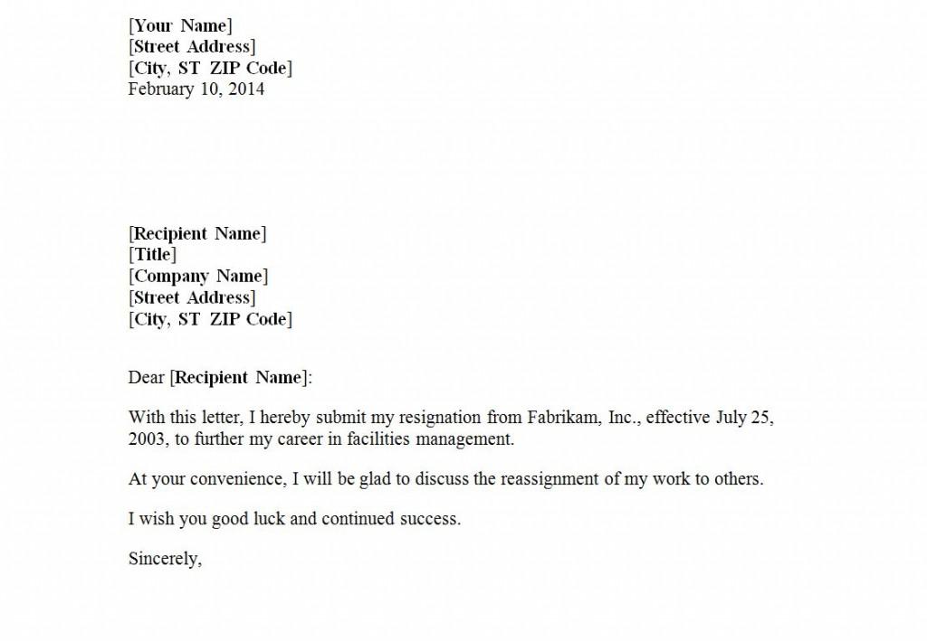Polite Resignation Letter Sample from exceltemplates.net