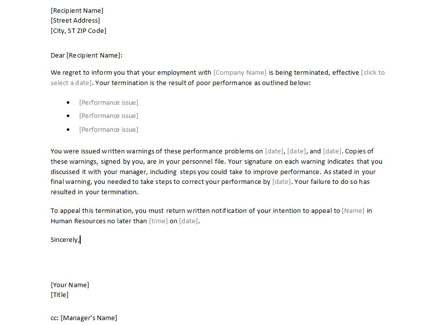 Sample Letter To Employee from exceltemplates.net