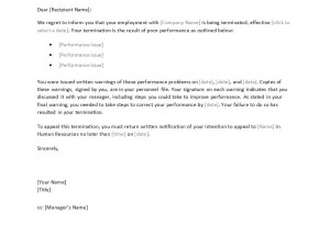 Free Termination Letter to Employee