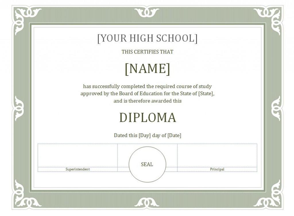 Free Diploma Certificate Template